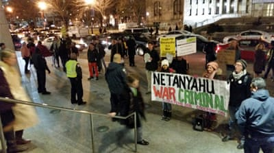 More protests are expected when PM Netanyahu addresses a joint meeting of Congress on Capitol Hill [Al Jazeera]