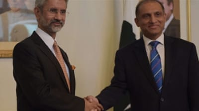 Jaishankar, left, is officially slated to discuss issues related to the South Asia Association for Regional Cooperation with his Pakistani counterpart [AFP]