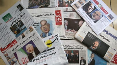 Front pages of Iranian newspapers displaying headlines in response to Netanyahu's speech [AFP]
