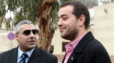 An Egyptian court on February 12 released Baher Mohamed (R) and Mohamed Fahmy, pending their retrial [EPA]