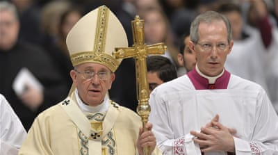 Pope Francis made the speech at a mass in Saint Peter's Basilica to mark the 100th anniversary of the massacre [AFP]