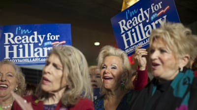 Supporters take part in the 'Ready for Hillary' rally in Manhattan, New York [Reuters]