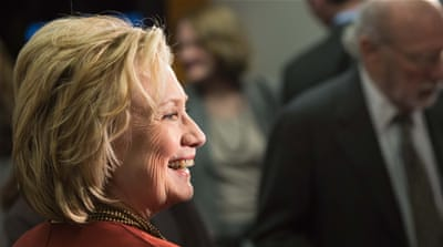 Hillary Clinton is trying to raise as much as $2.5bn to finance her campaign [AP]