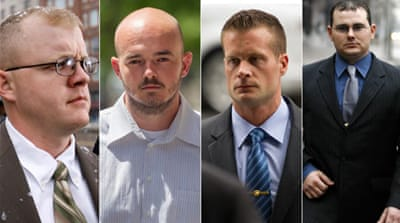 Nicholas Slatten - second left - was sentenced to life in prison after being found guilty of first-degree murder [AP]