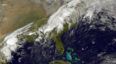 Storm clouds stagger to a halt over southern parts of the US [AFP PHOTO HANDOUT-NOAA/NASA]