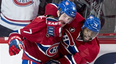 Galchenyuk (left) scored the winner at 3:40 of the first overtime [AP]