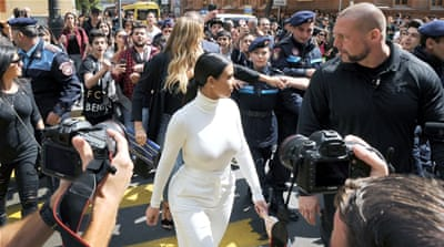 Kardashian with Kanye West and their daughter North during their visit to Yot Verk Church in Gyumri [REUTERS]