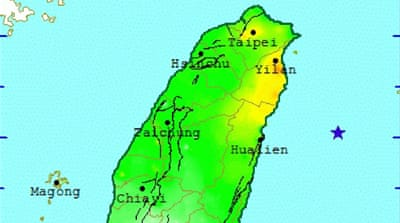 An image provided by Taiwan's bureau of meteorology shows the site of the earthquake [EPA]