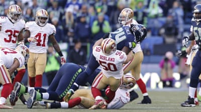 San Fracisco 49ers' Borland retired from teh game in March because of head injury concerns [Getty Images]