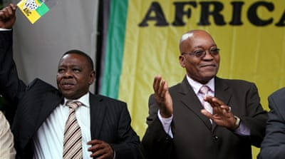 Blade Nzimande (left) is South Africa's Higher Education Minister [EPA]