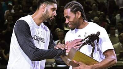 Leonard was MVP of the NBA Finals in 2014 when Spurs won the title [EPA]