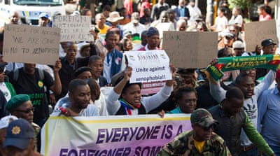 Many South Africans have taken to the streets to protest against the xenophobic attacks on migrants in their country [AP]