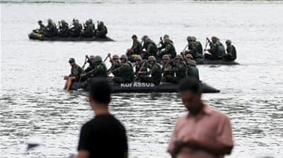 Indonesian special forces soldiers patrol near the prison island of Nusa Kambangan in Cilacap, Central Java  [Reuters]