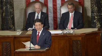 Japan PM voices World War II 'repentance' in US speech