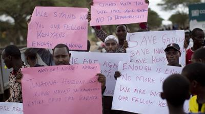 Kenyan Muslims demonstrate against the attack in Garissa, Kenya [AP]