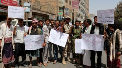 Houthi supporters take part in a protest against Saudi-led operations in Ibb, Yemen [Getty]