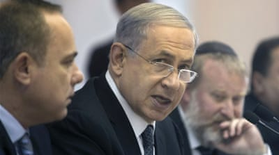 Netanyahu attends the weekly cabinet meeting at his office in Jerusalem [REUTERS]