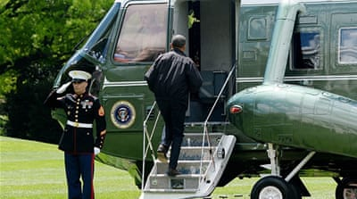Obama walks to Marine One on the South Lawn of the White House prior to his departure to Camp David [Getty]