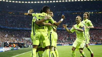 Barcelona are one victory away from triumphing in each of the three titles they are chasing [Reuters]