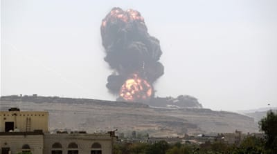 Arab coalition air strikes hit Houthi targets in Sanaa, Marib province, and Aden [AFP]
