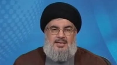 Nasrallah spoke during a rally commemorating the withdrawal of the Israeli army from southern Lebanon in 2000 [AP]