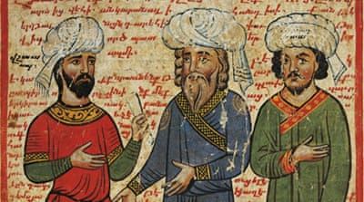 Darius and his dignitaries, miniature from the The History of Alexander the Great by Pseudo-Callisthenes, 13th-14th century [Getty]