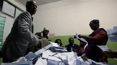 Election officials count votes at the end of voting in Addis Ababa [Reuters]