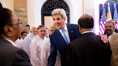 The visit was the first by a US secretary of state to Sri Lanka [AP]