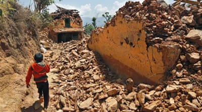 Villagers at the Nepalese town of Pauwathok are still waiting for aid [AP]