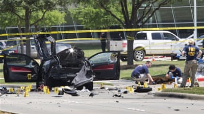 The suspects' vehicle was being inspected after a shooting outside the Muhammad Art Exhibit in Dallas [Reuters]