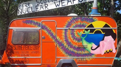 Anti-nuclear activists have protested the Trident submarines since 1982 [Faslane Peace Camp Community Organization]