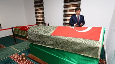 Turkish prime minister prays at the tomb of Suleyman Shah [Getty]