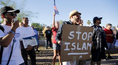 Demonstrators shout during a rally outside the Islamic Community Center in Phoenix, Arizona [REUTERS]