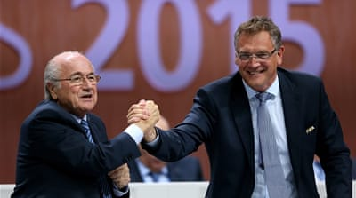 Valcke (R) has postponed his planned trip to Canada for the opening ceremony of the women's world cup [Getty Images]