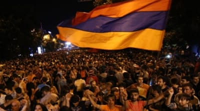 Armenia protesters block road for third night