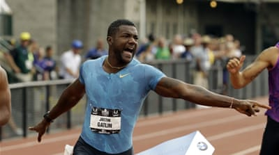 Gatlin ran his personal best in 100m earlier this year [AP]