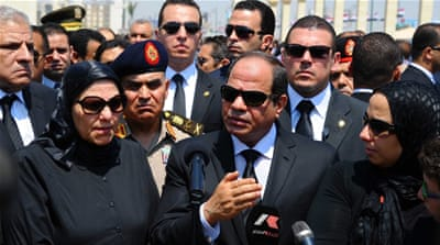 Sisi attended the funeral of Barakat, who oversaw the prosecution of thousands of activists and opposition leaders [AP]