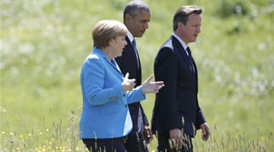 The crises in Ukraine and Greece seemed likely to overshadow the economic discussions in Germany [Reuters]