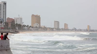 Big waves started rolling towards Mazatlan harbor, Mexico as Hurricane Blanca approached [EPA]