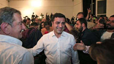 HDP co-leader Selahattin Demirtas arrives for a news conference in Istanbul, Turkey [AP]
