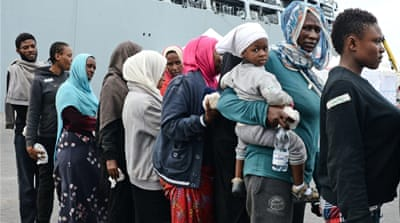 About 6,000 migrants were plucked out of the Mediterranean sea over the weekend [AFP/Getty Imagas]