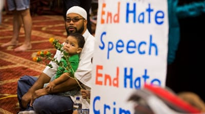Participants of an interfaith rally at an Islamic community centre in Arizona, United States [Reuters]