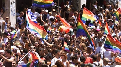 International trumpeting of Israel's gay rights seems more like a reinforcement of the country's narrative as a modern nation surrounded by swathes of uncivilised backwardness, writes Shabi [AP]