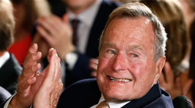 Bush's spokesman said the former president is likely to wear a neck brace after the fall [File: Reuters]