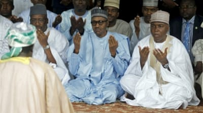 Buhari, centre, who has made defeating Boko Haram his top priority, will meet US President Barack Obama on Monday [Reuters]