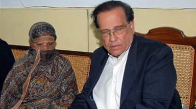 Punjab Governor Salman Taseer, was shot dead by a bodyguard in 2011, after he had sought a presidential pardon for Bibi [EPA]