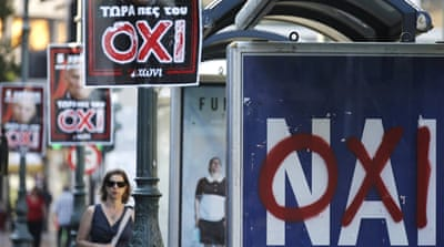 "The ""Yes"" campaign says the referendum is a vote on whether Greece wants to remain in the euro, but PM Tsipras rejects this [Reuters]"