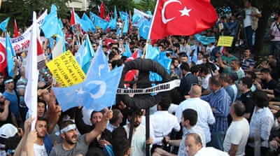 There have been protests in Turkey against China's policies on the Turkic language-speaking Uighurs [File: AFP]