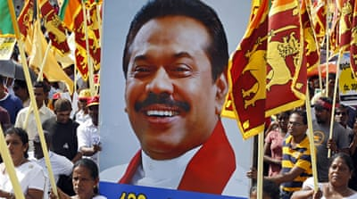 Mahinda Rajapaksa is running for Sri Lanka's parliament with the slogan 'Let's power the nation: Let's start afresh' [Dilrukshi Handunnetti/Al Jazeera]