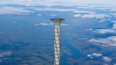 A payload may be launched from a pod or deck at the upper end of the space elevator tower [Thoth Technology]
